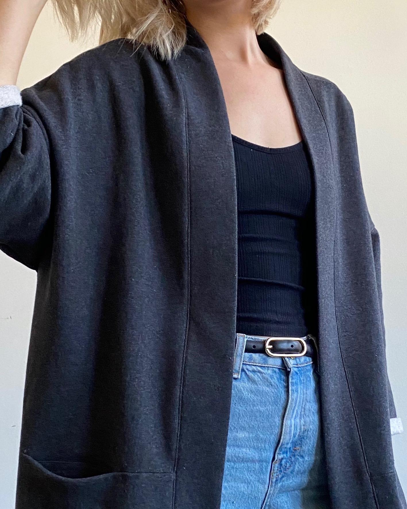 dark grey fleece jacket, organic cotton