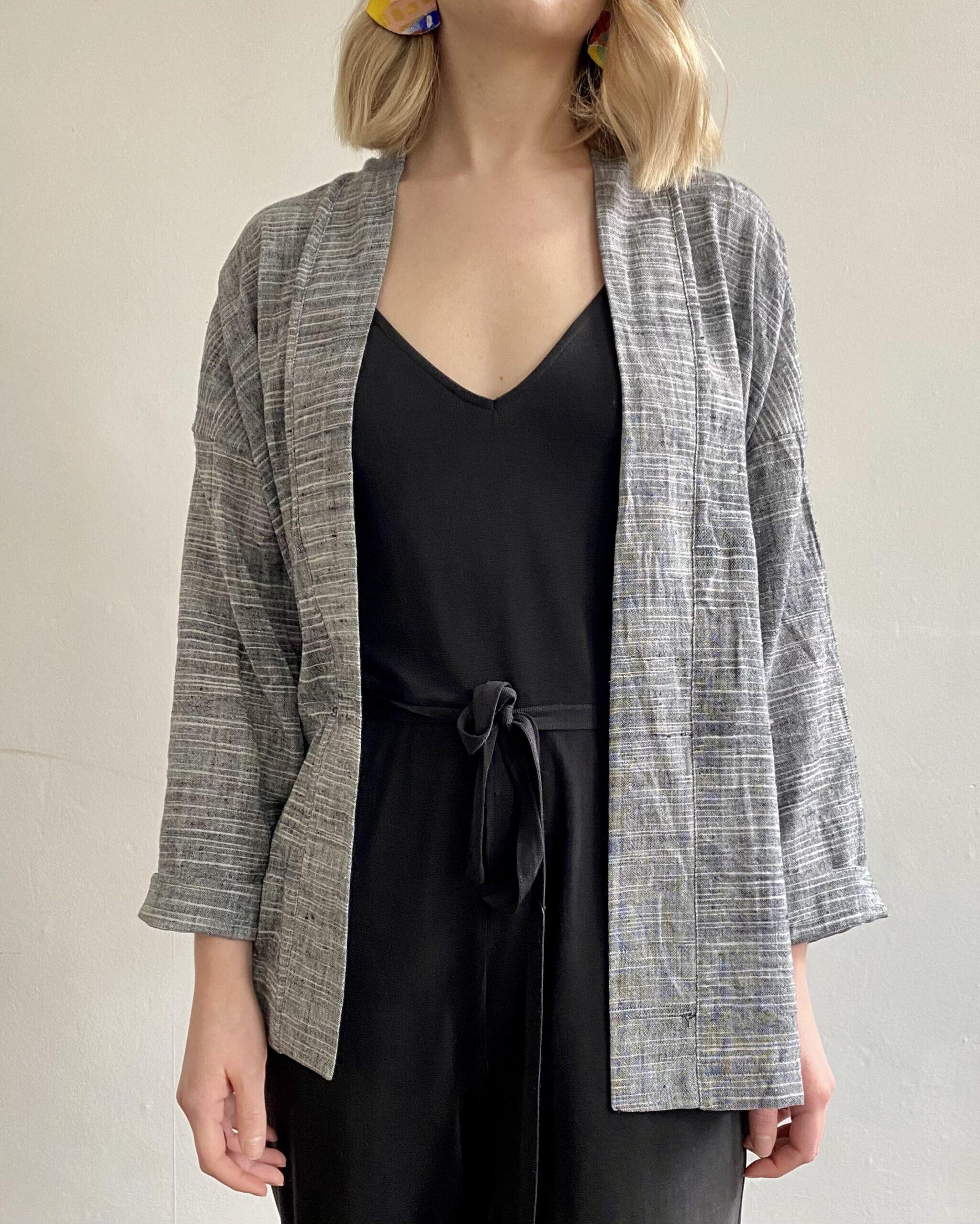 Handwoven jacket fair trade grey organic cotton