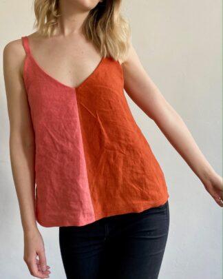 European linen colour block cami top