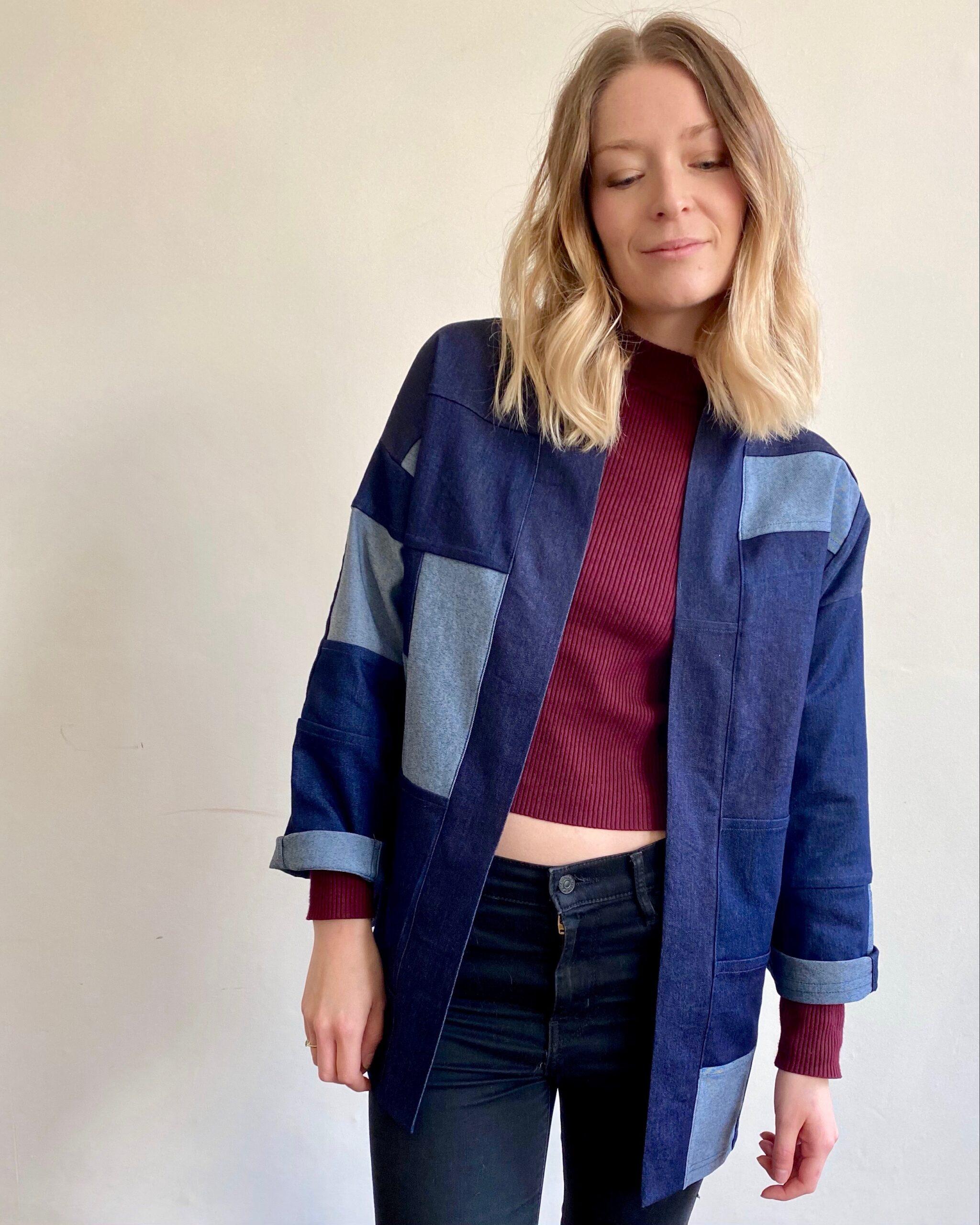 patchwork handmade denim jacket in organic cotton