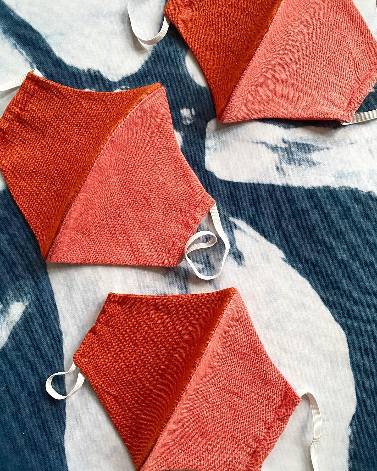 orange and pink linen face masks