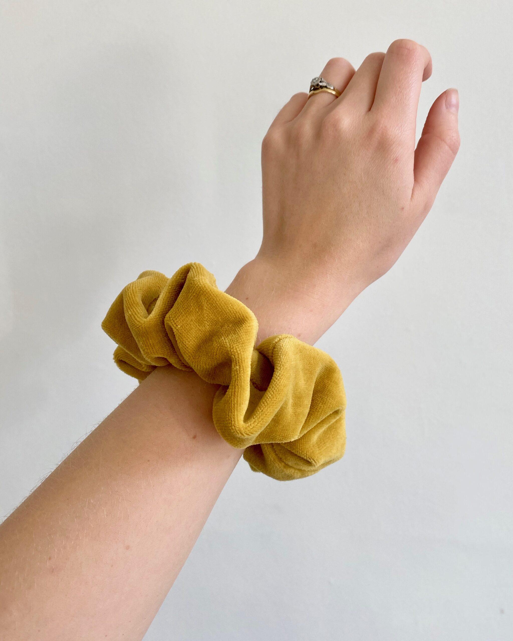 mustard velvet scrunchie in organic cotton