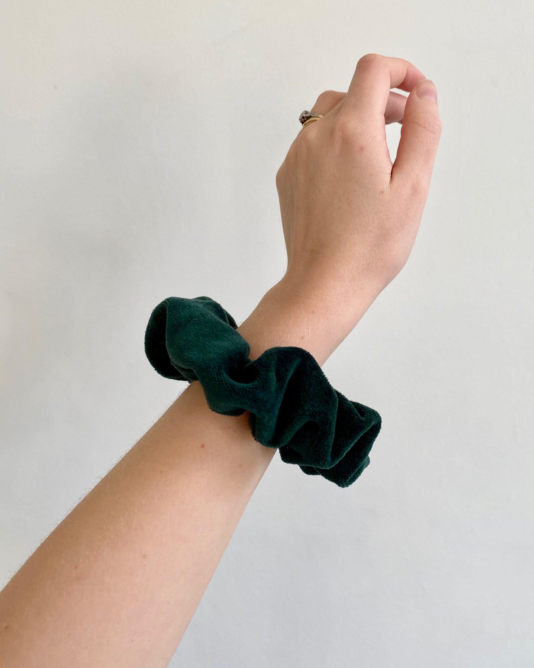 Bottle green velvet scrunchie