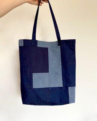 organic cotton denim tote bag