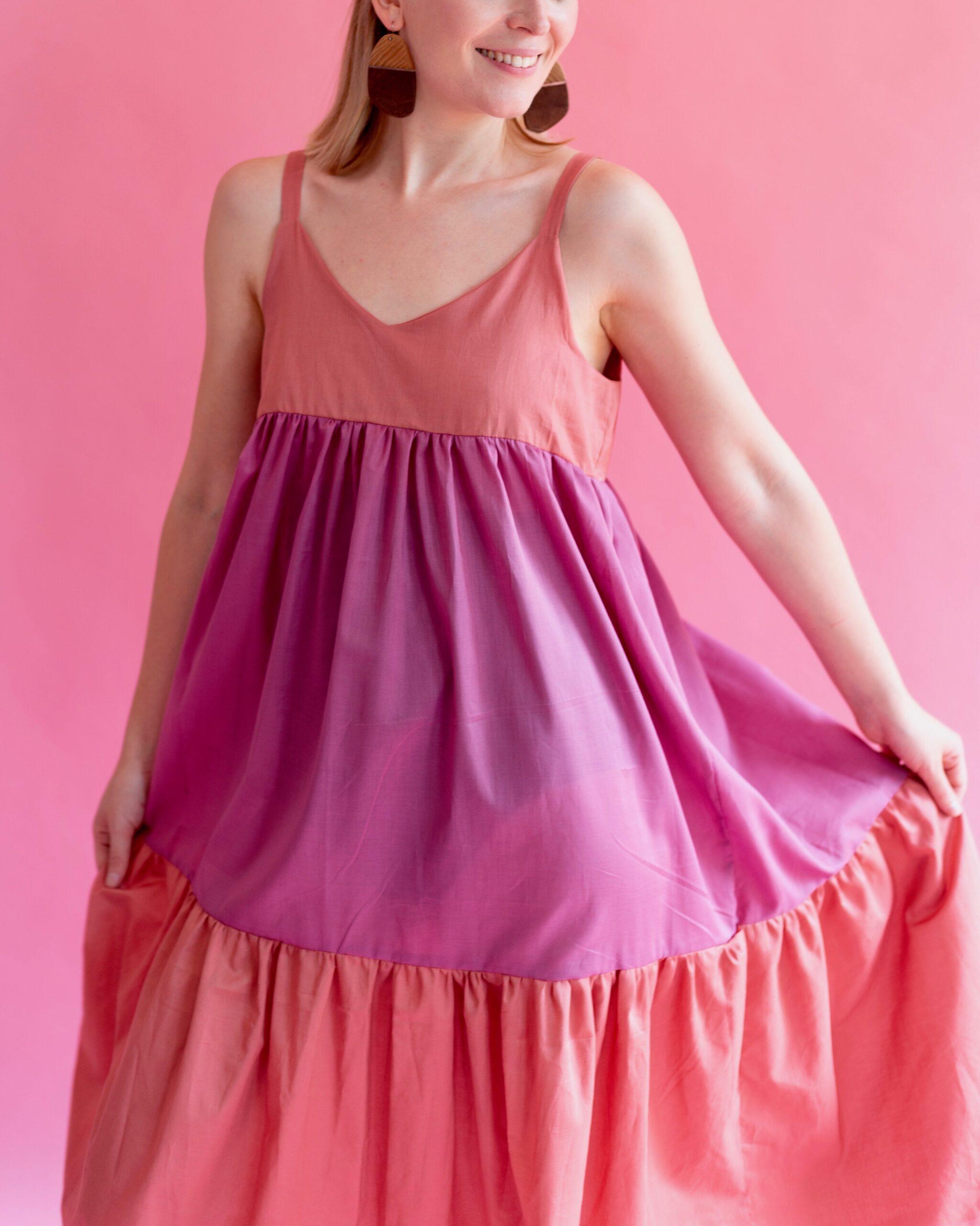 pink and orange full length organic dress