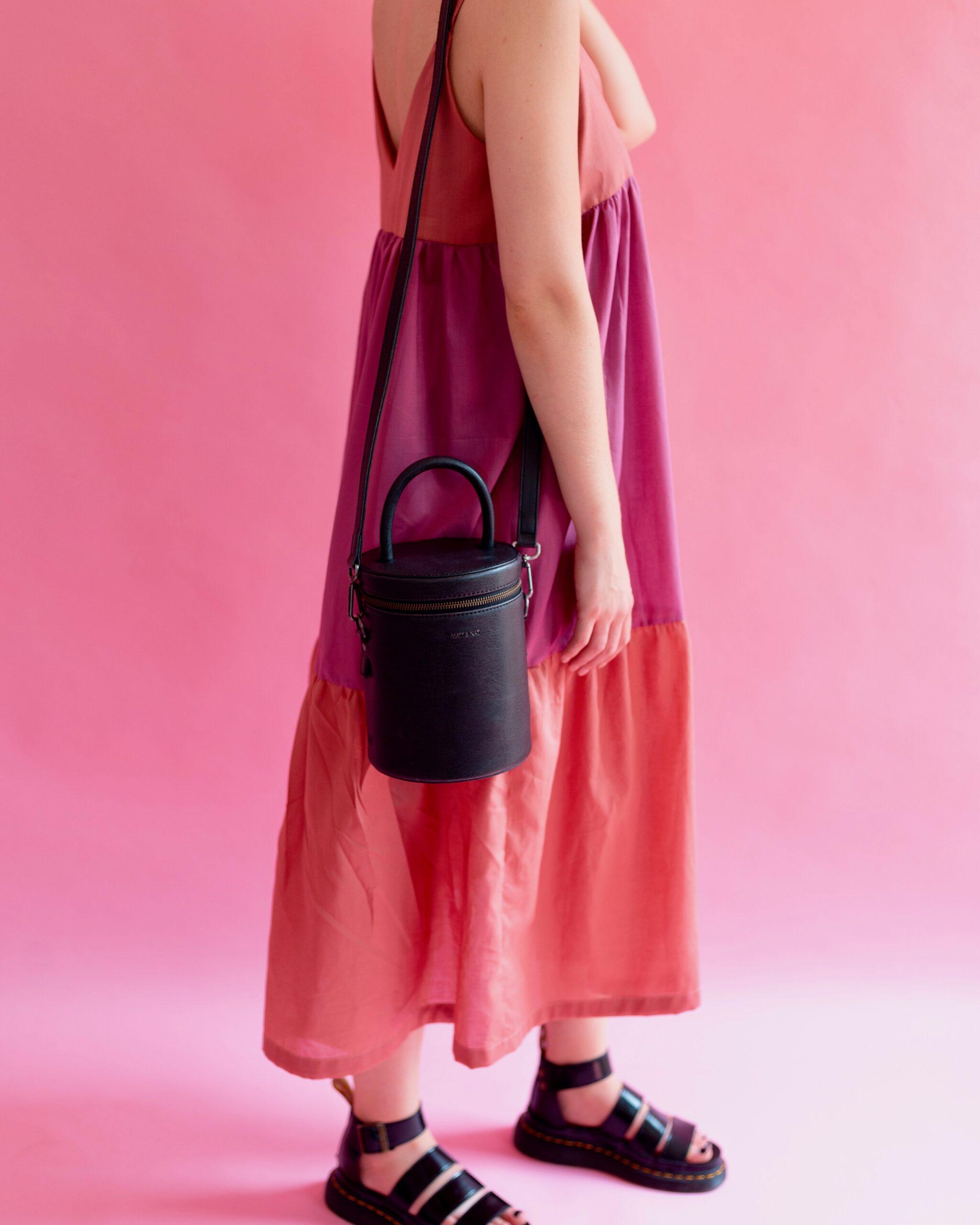 organic cotton smock dress, full length in pink and orange