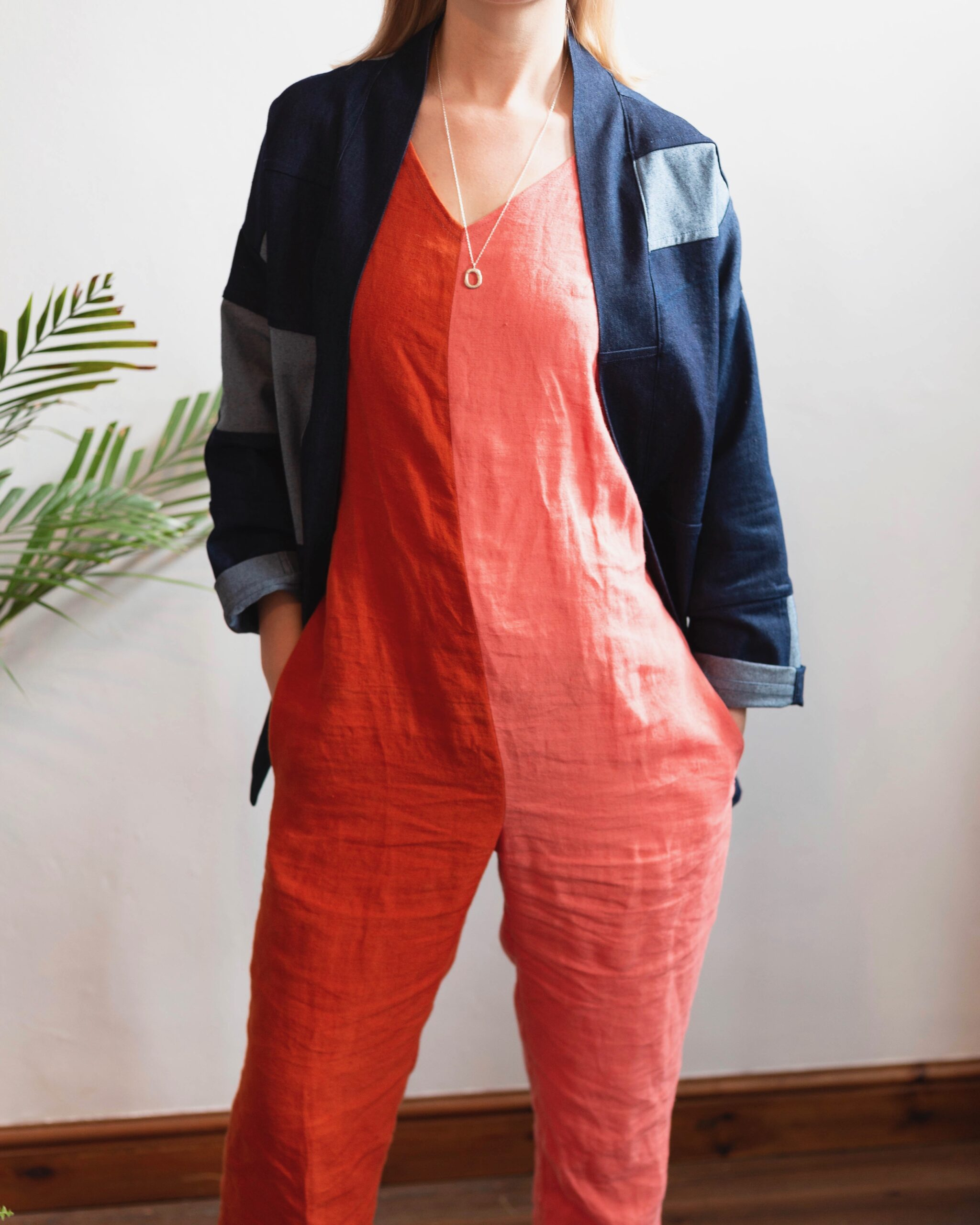 linen jumpsuit with colour blocking design in pink and orange